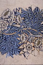 A beautiful silvery-blue fabric design.