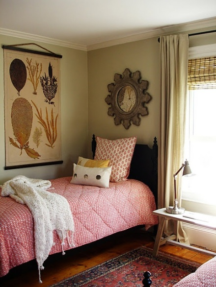 Guest room with nature print
